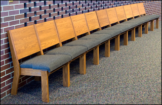 church chairs without kneelers installed